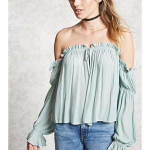 Forever 21 Sage Green Ruffle Off the Shoulder Top